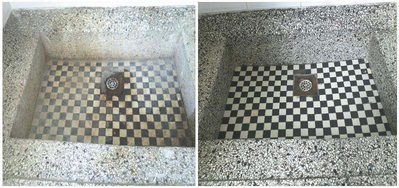 Voor en na wasbak